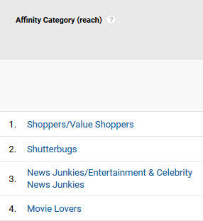 Psychographics in marketing Google Analytics affinity categories