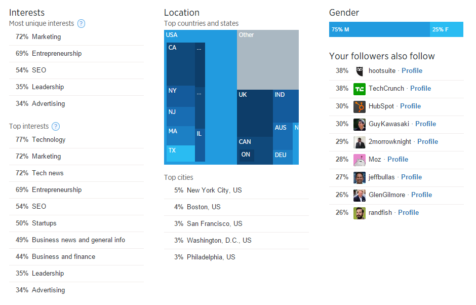 Psychographics in marketing Twitter Analytics screenshot