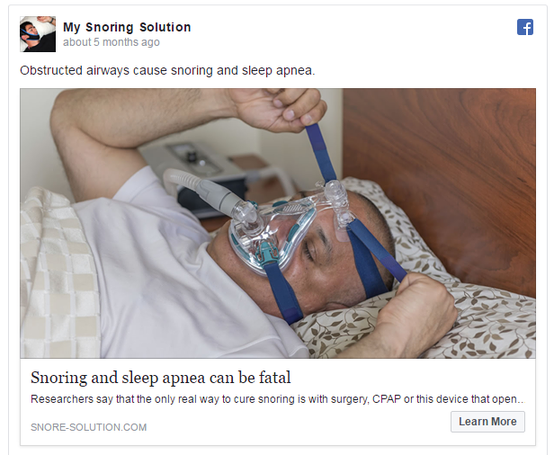 Psychology of Facebook ads fear example