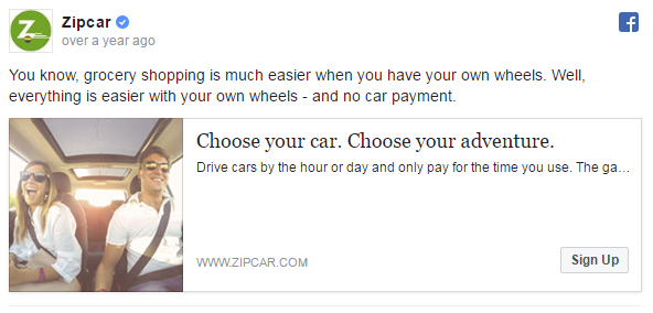 Psychology of Facebook ads Zipcar example