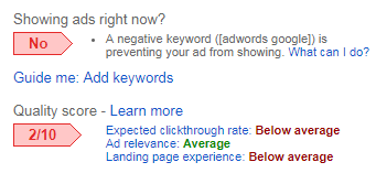 quality score status low value adwords keyword