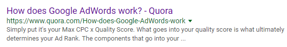 quora among google search results