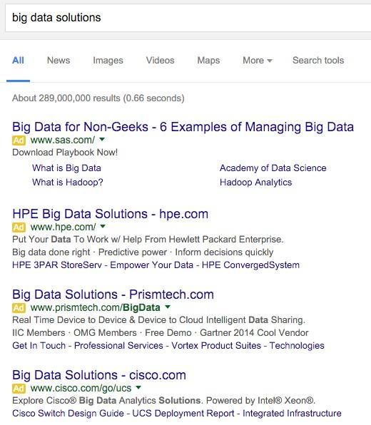 RankBrain big data solutions ad examples