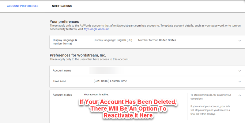 adwords account reactivation