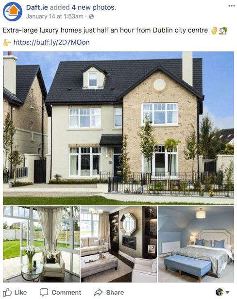 Real estate Facebook ads use aspirational imagery
