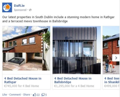 Real estate Facebook ads Daft.ie listing examples