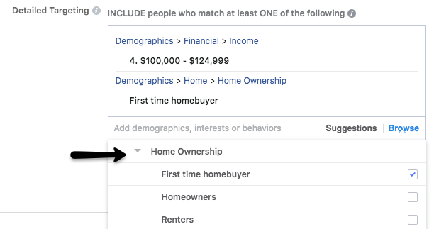 Real estate Facebook ads targeting audiences by home ownership status