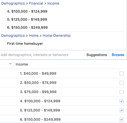 Real estate Facebook ads targeting audiences by income level