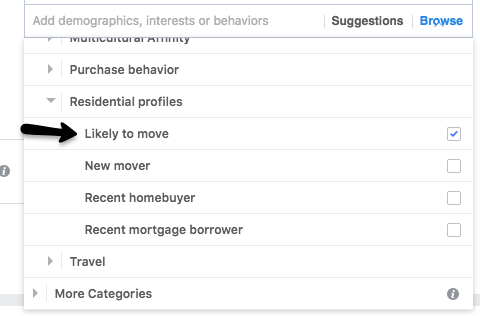 Real estate Facebook ads targeting audiences by likelihood of moving