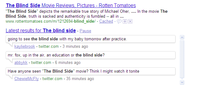 Real time search results for the movie blind side.