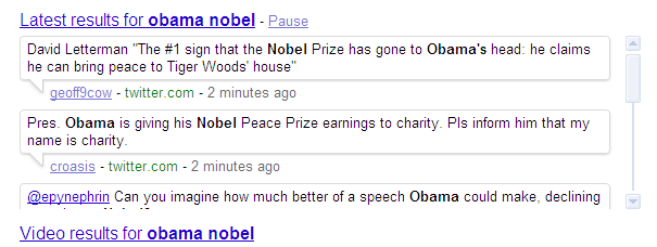 Obama noble real time search result.