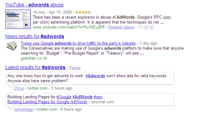 #AdWords real time search results.