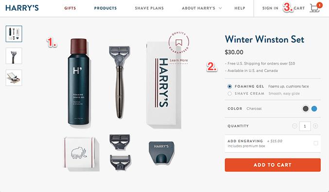 Page de produit en ligne lisse et brillante pour rasoirs