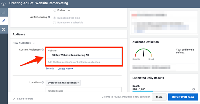 create new facebook ads remarketing audience