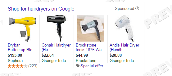 Retail marketing image of hairdryer shopping ads