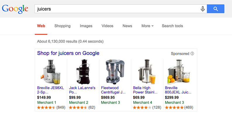 Retail marketing image showing juicers with product ratings