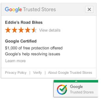 Retail marketing image showing google trusted store badge