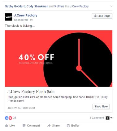 j. crew ad with clock