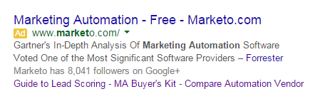 sales cycle marketo ad displaying on the serps