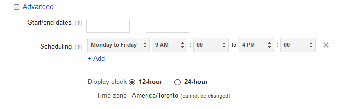 scheduling adwords message extensions