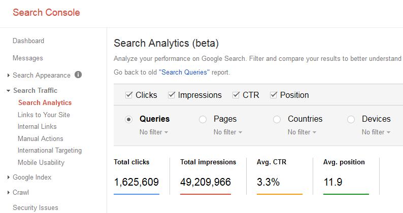 search console keyword traffic