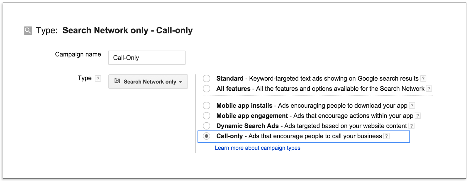 adwords call only ad creation