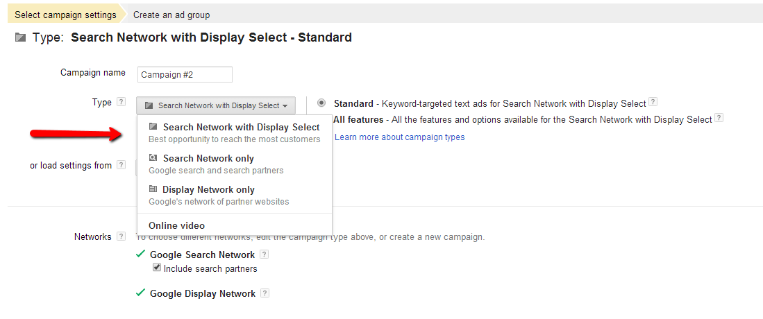 search network with display select campaign