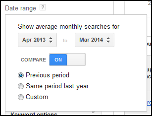 Keyword Planner Select Date Range