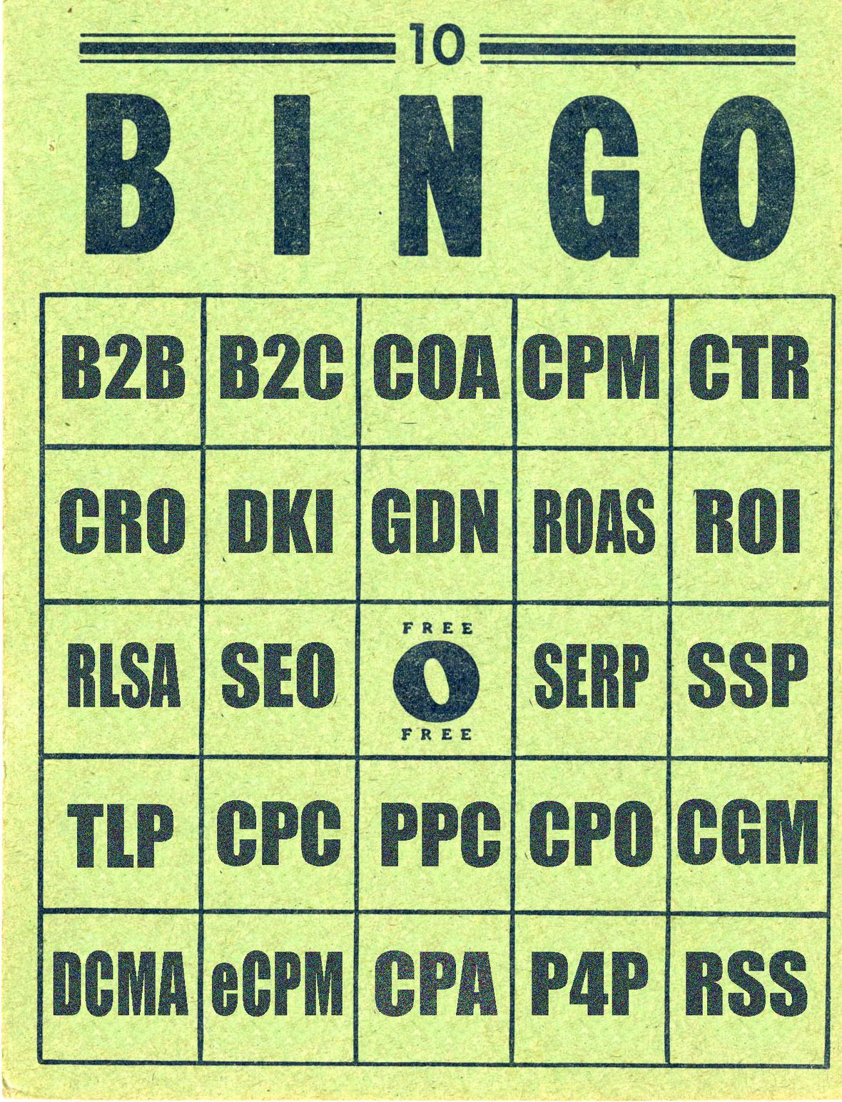 Search engine marketing acronym bingo