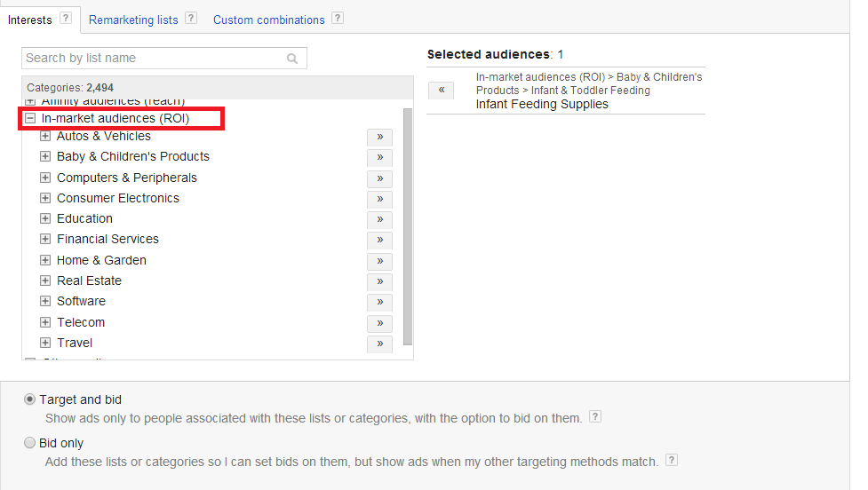 google adwords in market audiences