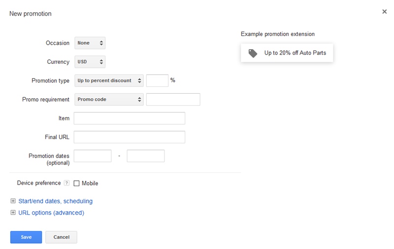 adwords promo extension setup