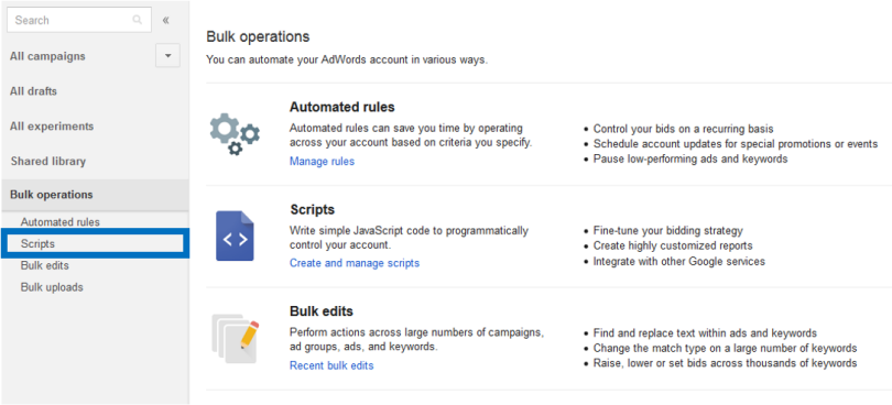 how to set up adwords scripts