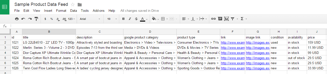Google Shopping campaigns feed example