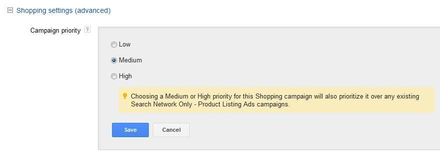 Google Shopping Ads Settings