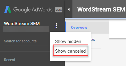show cancelled adwords accounts mcc