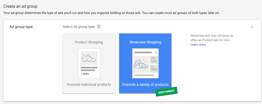 showcase shopping ad format in adwords