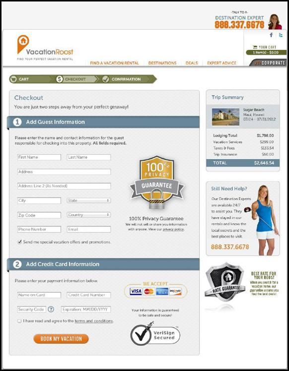 simplify checkout process on landing page