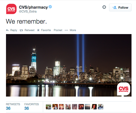 Social media crisis management branded 9/11 tweets CVS example