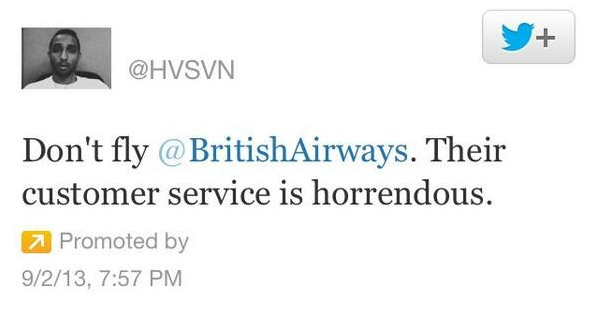Social media crisis management sponsored tweet don't fly British Airways twitter HVSVN