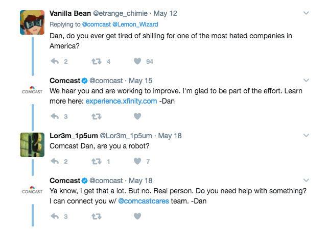 Social media crisis management corporate account responses to negative tweets Comcast rep tweets