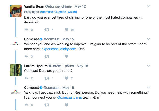 Social media crisis management corporate account responses to negative tweets Comcast rep tweets
