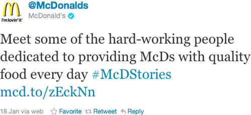 Social media crisis management McDonald's McDStories hashtag example
