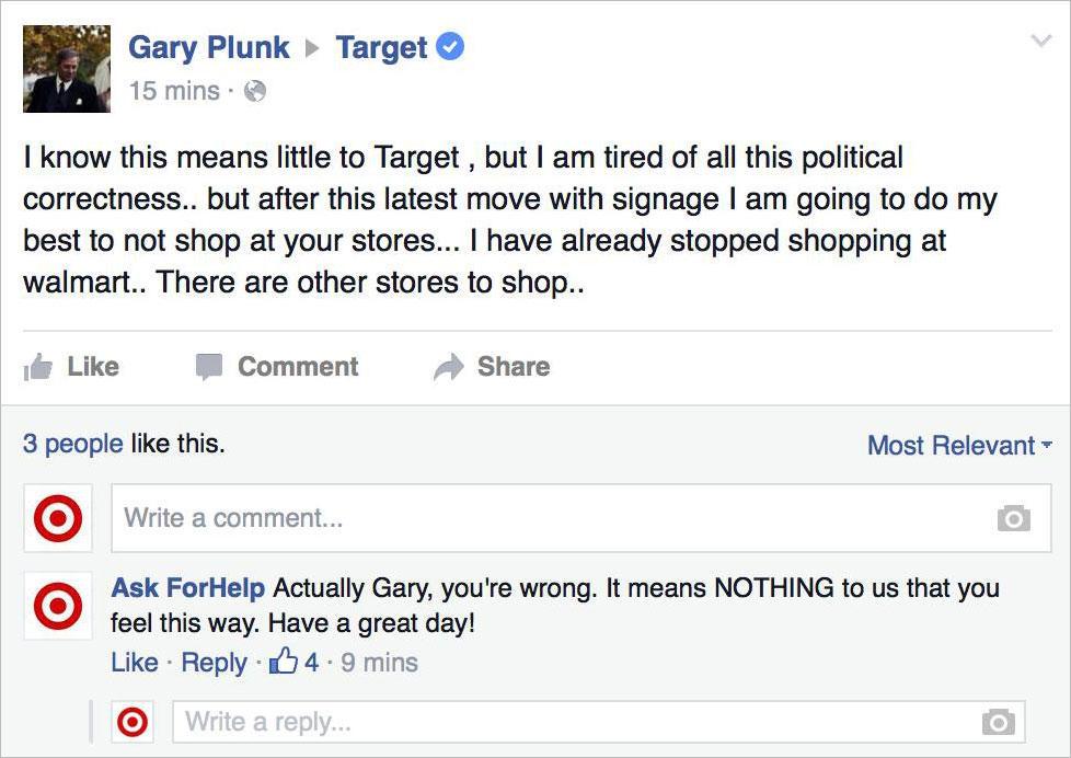Social media crisis management hostile customer support posts Facebook