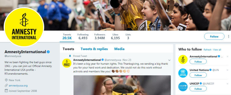 Social media for nonprofits Amnesty International Twitter