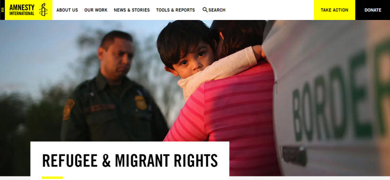 Social media for nonprofits Amnesty International homepage