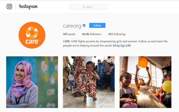 Social media for nonprofits Care International Instagram