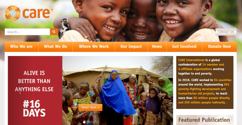 Social media for nonprofits Care International homepage