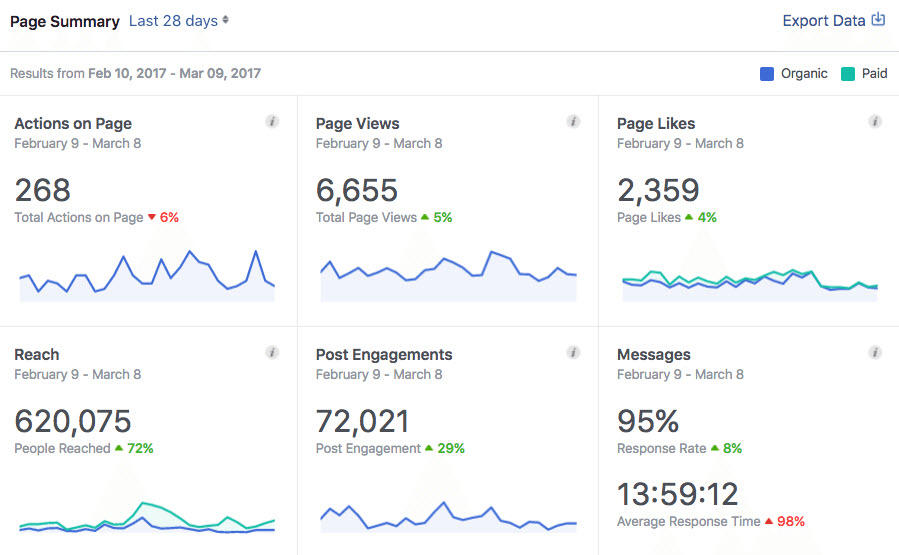 Social media for nonprofits Facebook Analytics screenshot