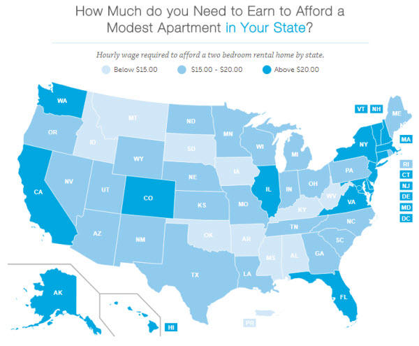 Social media for nonprofits United States rental affordability map by wage