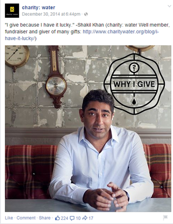 social media marketing plan charitywater facebook post